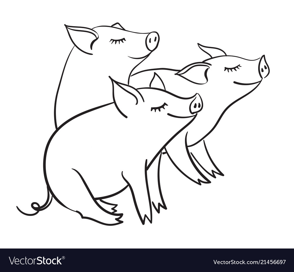 Three piglets template for greeting card black