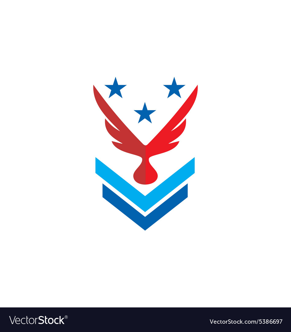 wing eagle star military logo royalty free vector image
