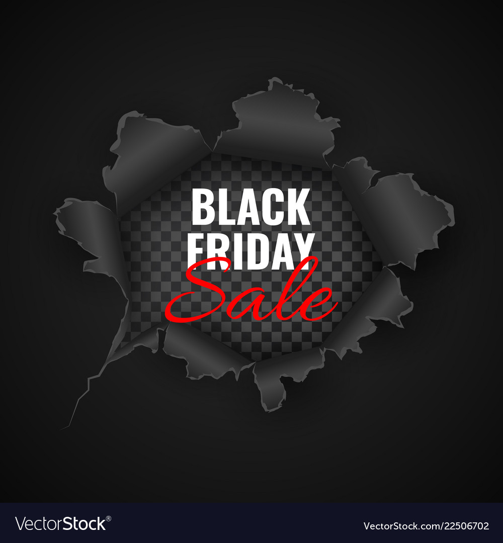 Black friday sale background hole in black paper