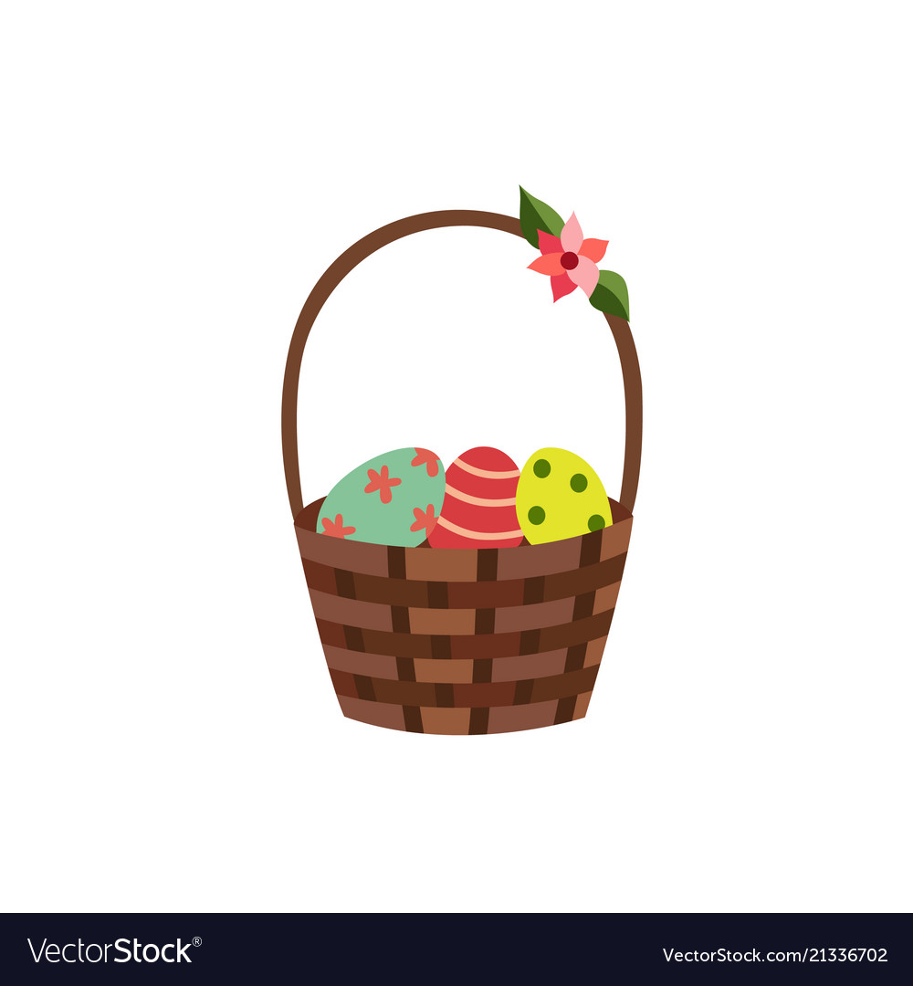 Flat wicker basket with flowers easter icon