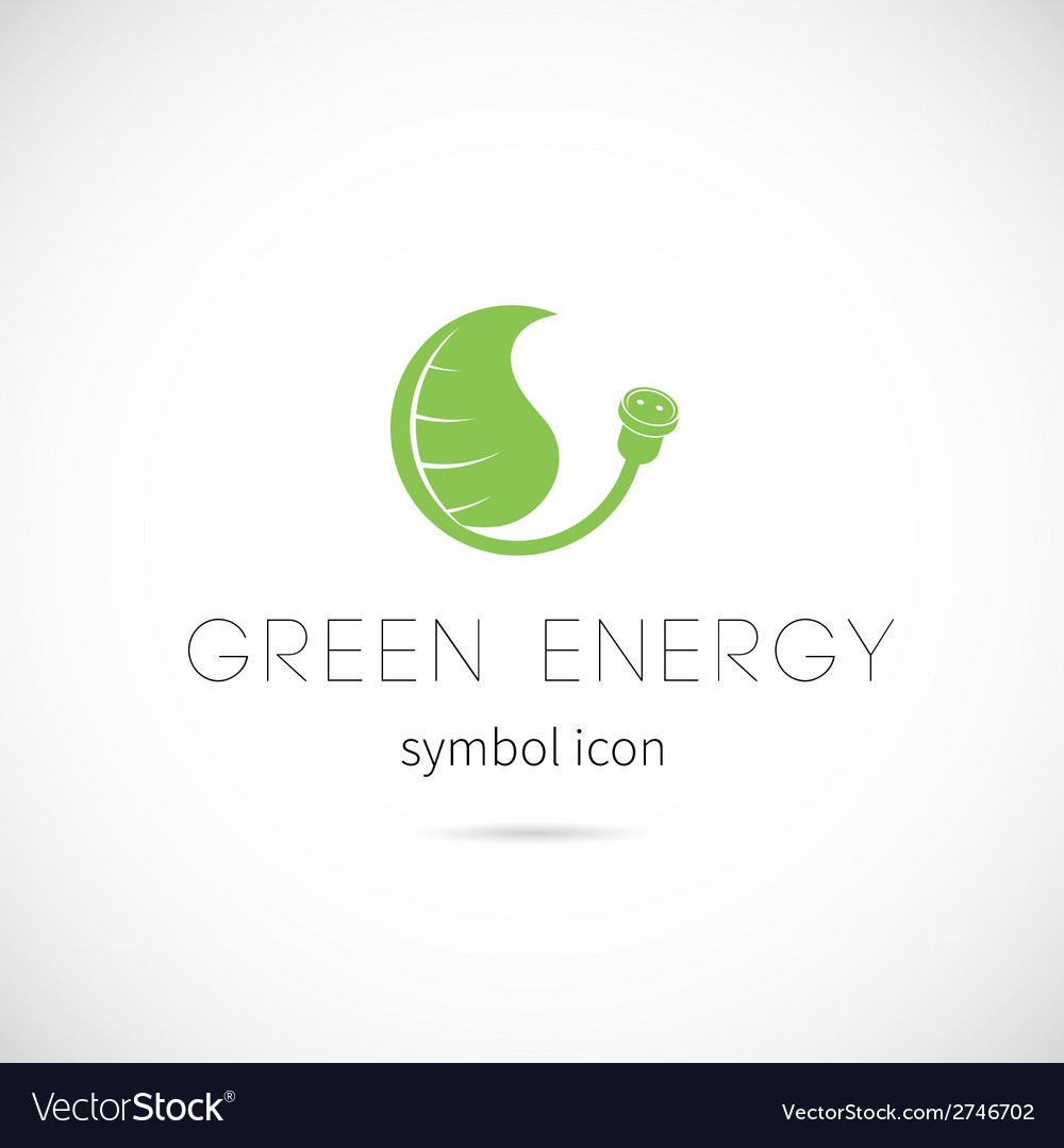 Green energy concept symbol icon or label