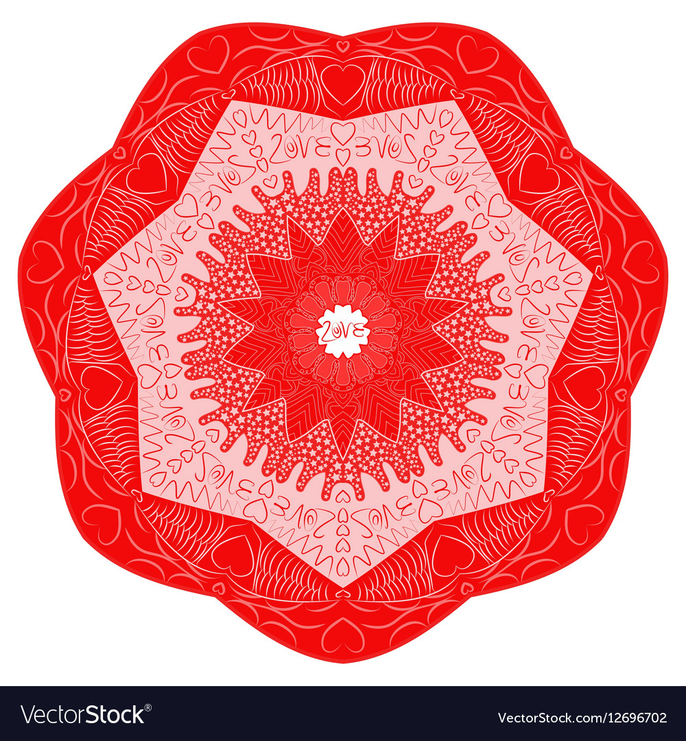 Red Valentines Day mandala inscription love vector image