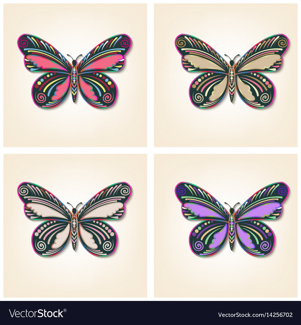Set of butterflies elegant insects