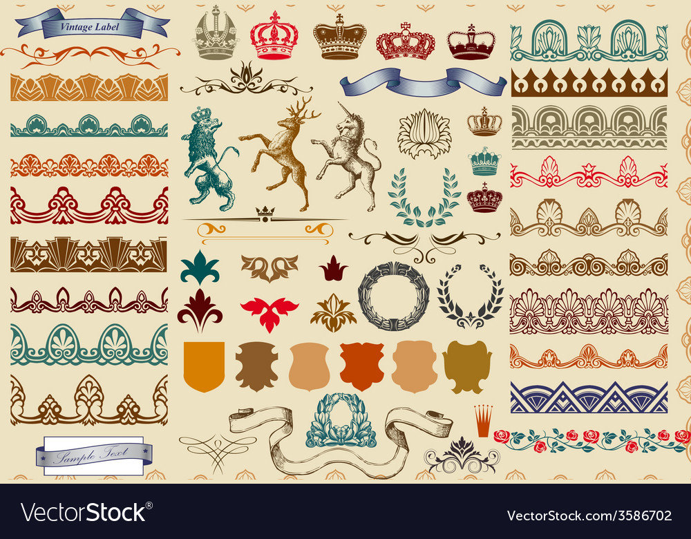 Set of page decoration vector image