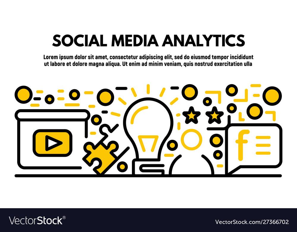 Social media analytics banner outline style