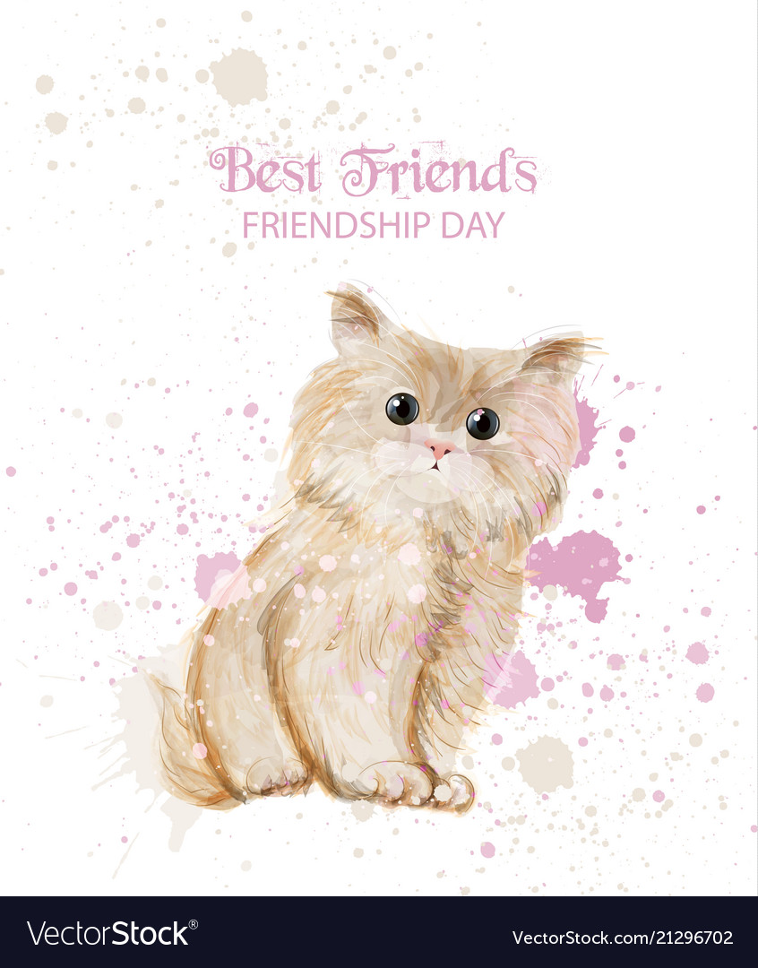 Watercolor cute kitty friendship day card