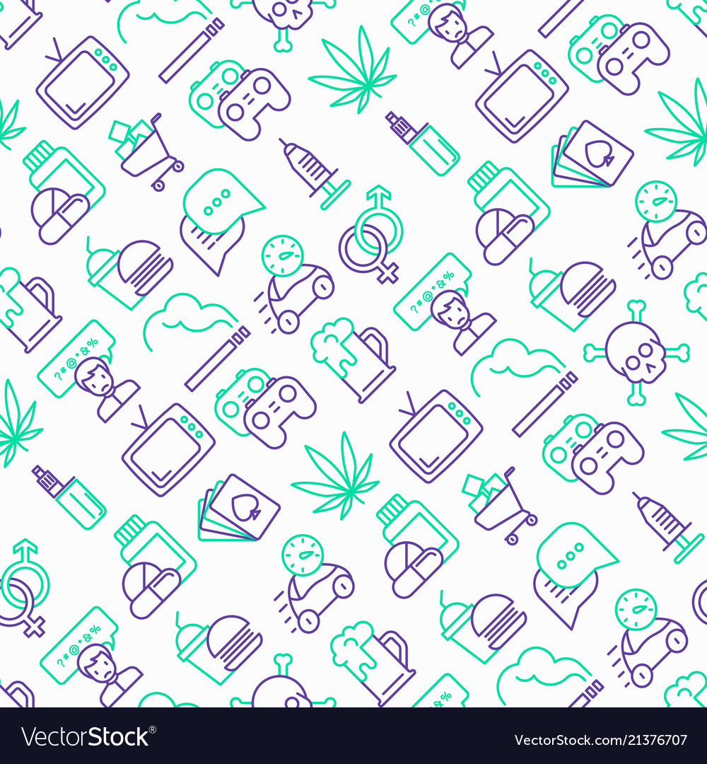 Bad habits seamless pattern with thin line icons