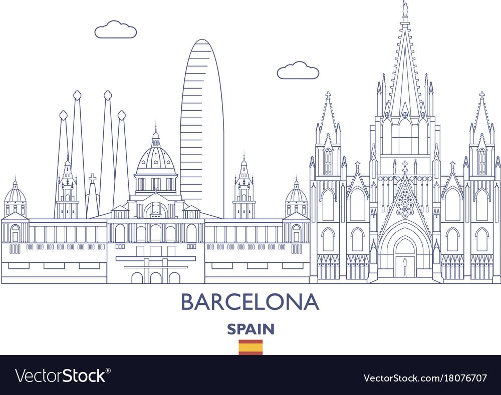 Barcelona city skyline vector image