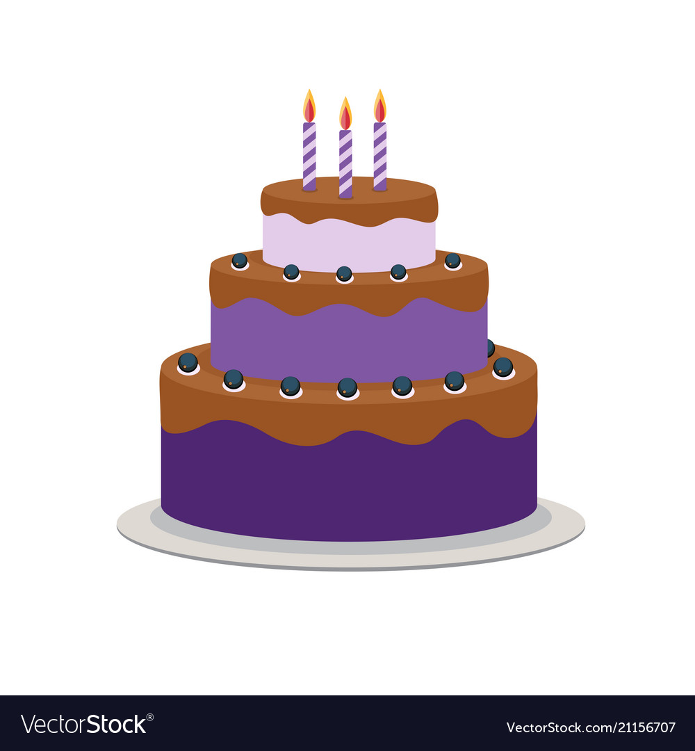 Cool Birthday Cake Flat Icon For Your Design Royalty Free Vector Personalised Birthday Cards Veneteletsinfo
