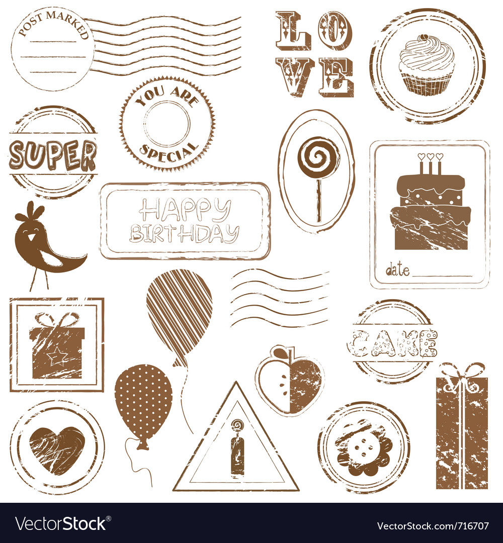 Birthday stamps vector image
