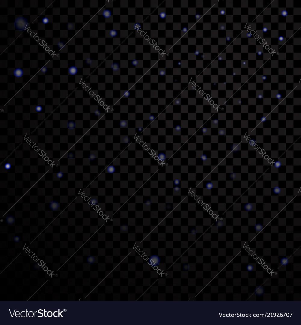 Blue light stars on black transparent background
