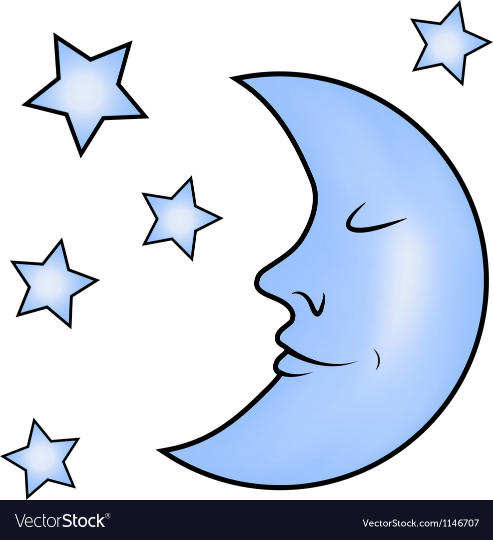 Blue moon and stars vector image