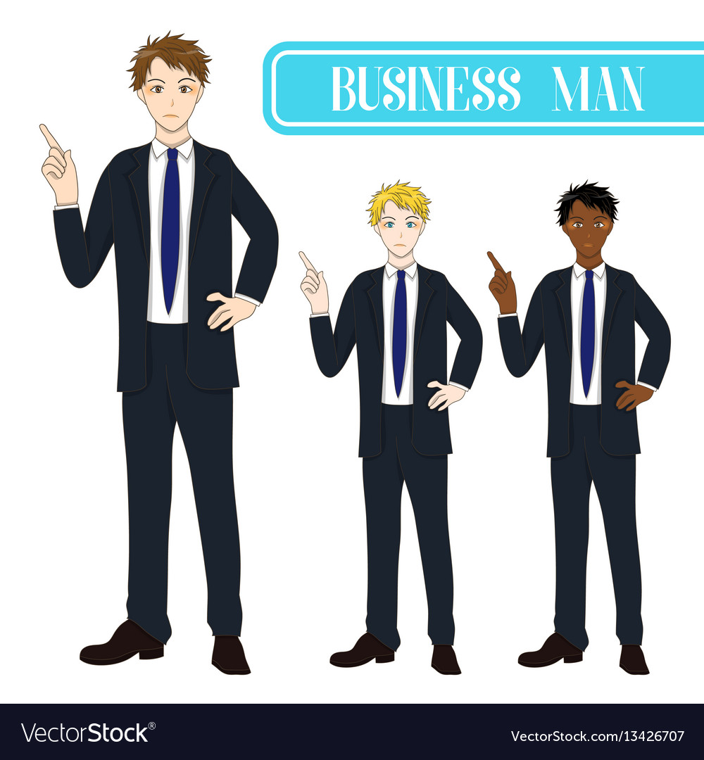 Business man pointing with serious face