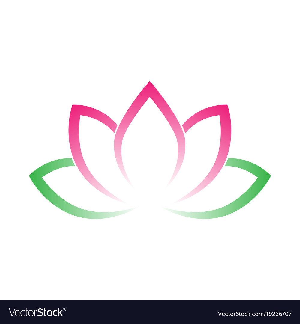 Calligraphic Lotus Blossom Yoga Symbol Simple Vector Image