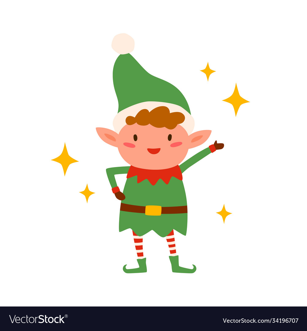 Cute happy christmas elf isolated on white