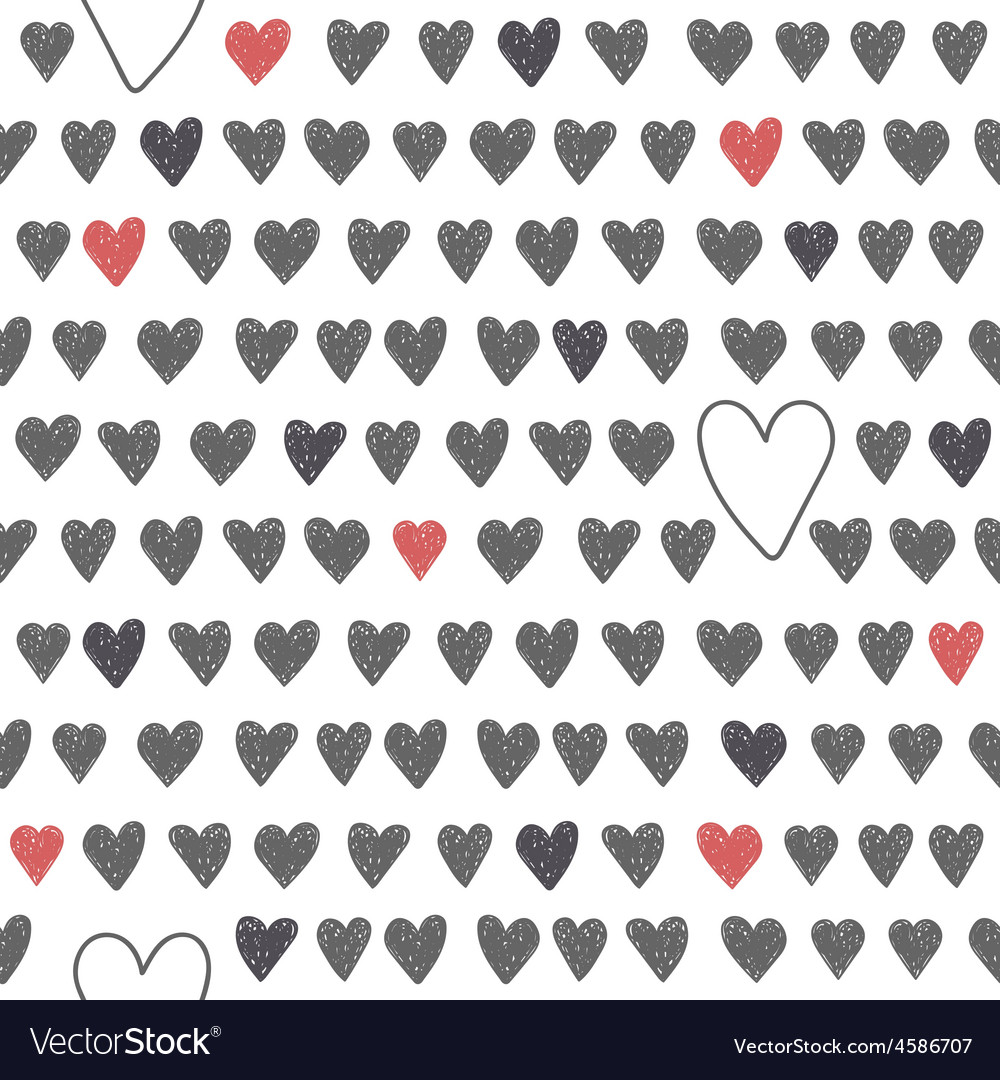Cute seamless pattern with grey and red hearts