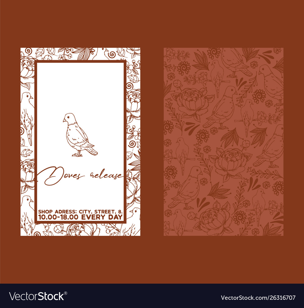 Dove sketch for wedding ceremony celebration party