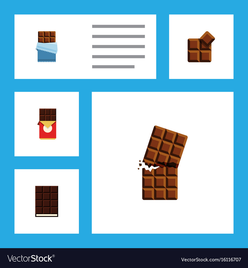 Flat icon cacao set of dessert bitter chocolate vector image
