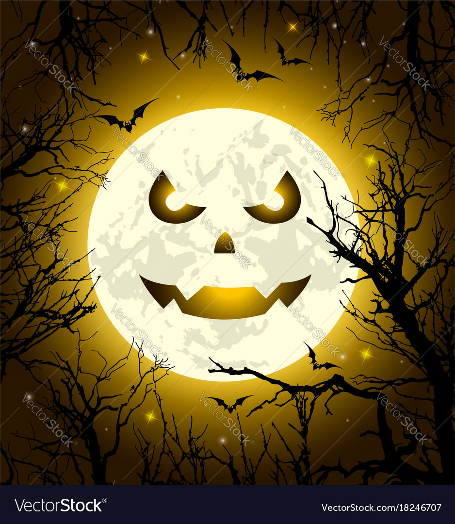 halloween greeting card with scary face royalty free vector