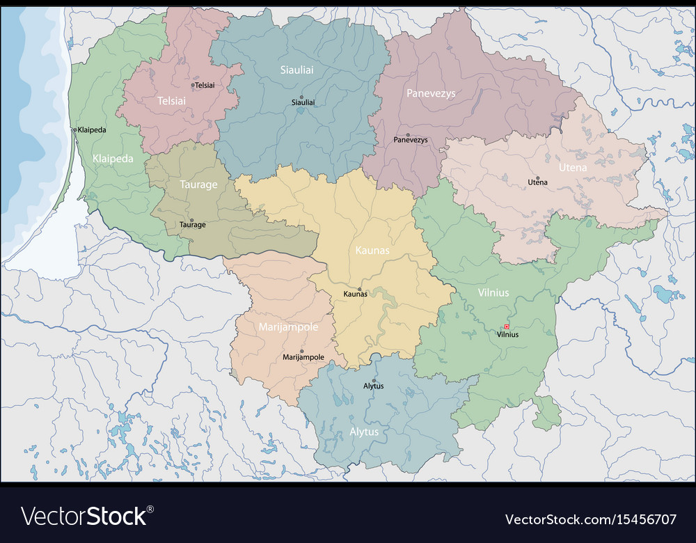 Map of lithuania Royalty Free Vector Image - VectorStock