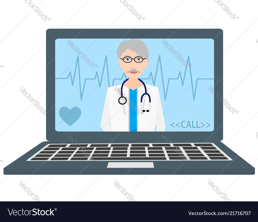 Online doctor consultant flat icon stock