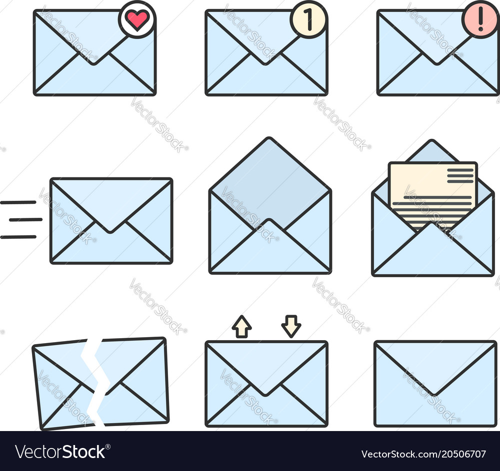 Set of blue flat envelopes with message signs vector image