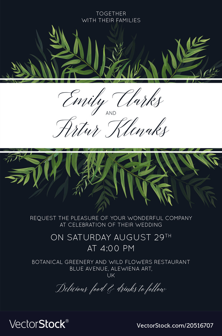 Tropical forest wedding invite save the date card