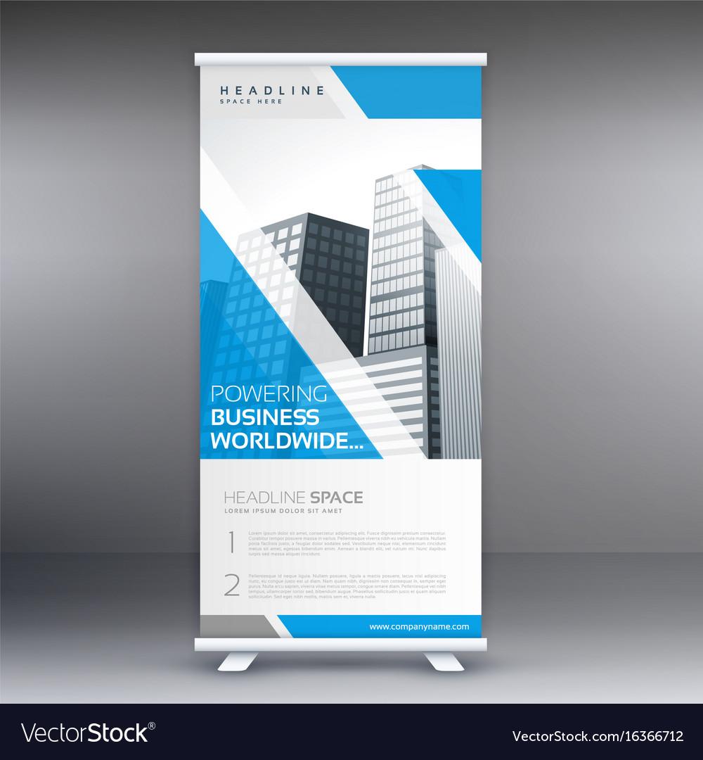 Blue roll up business banner flyer design