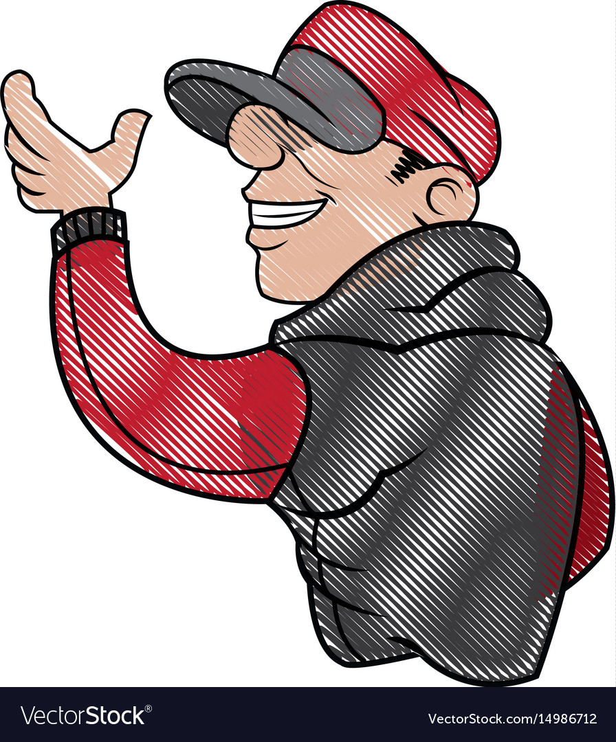 Cartoon young guy graffiti with red and black vector image
