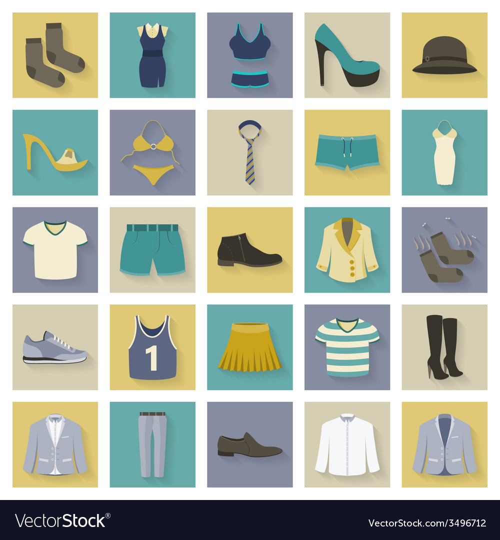 Clothing and shoes flat icons set with shadows
