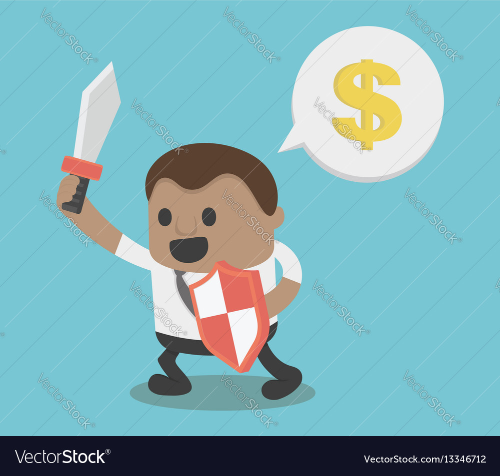 Concept african businessman hold sword and shield