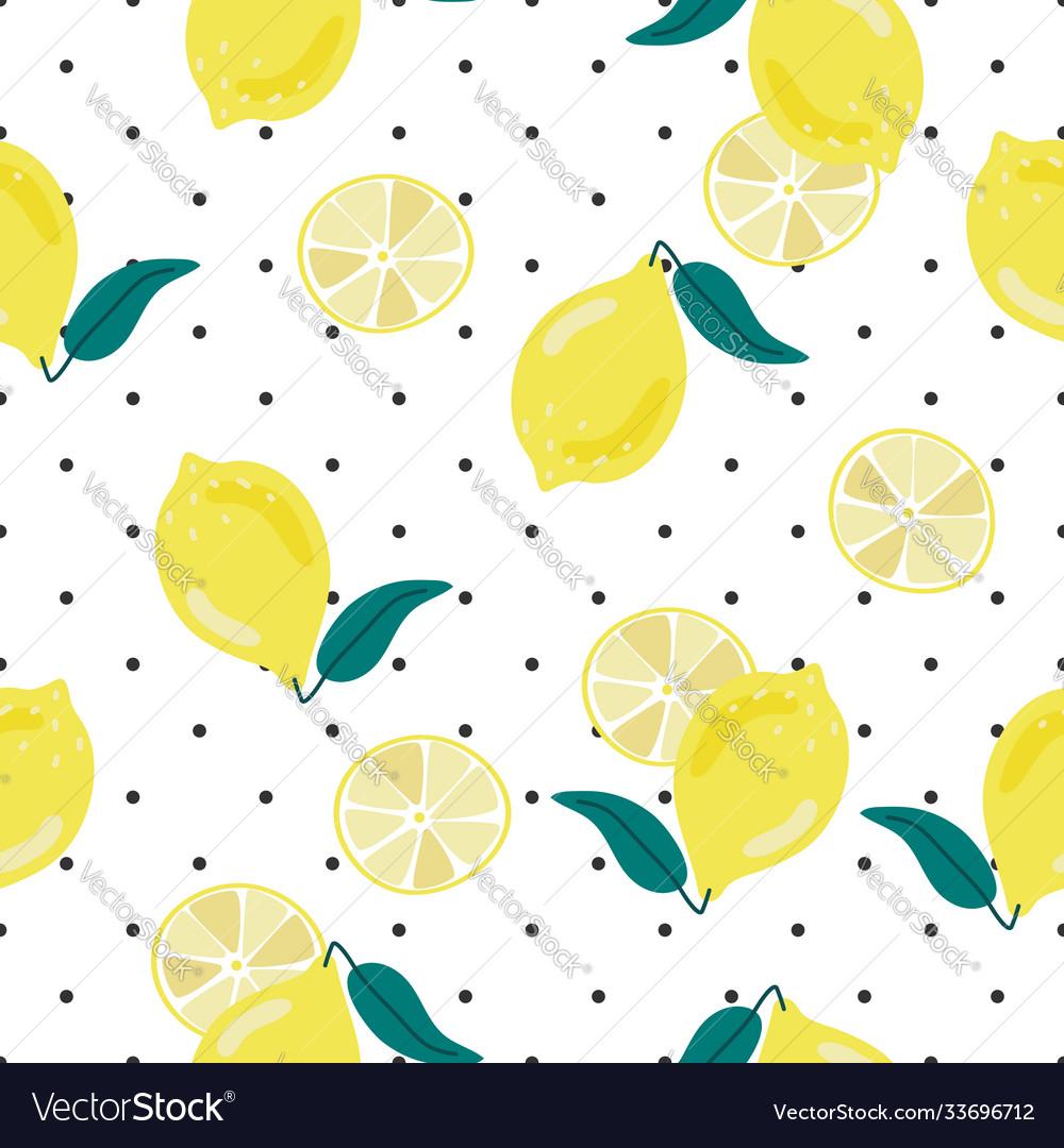 Cute hand draw yellow lemon on dot background