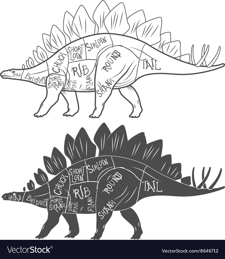 Dinosaurs with cut scheme on white background
