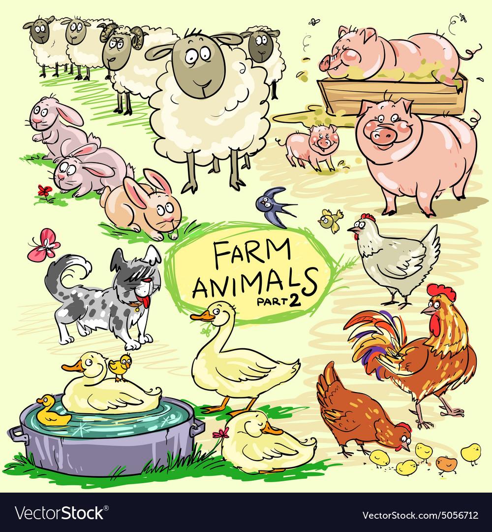Farm animals hand drawn collection part 2