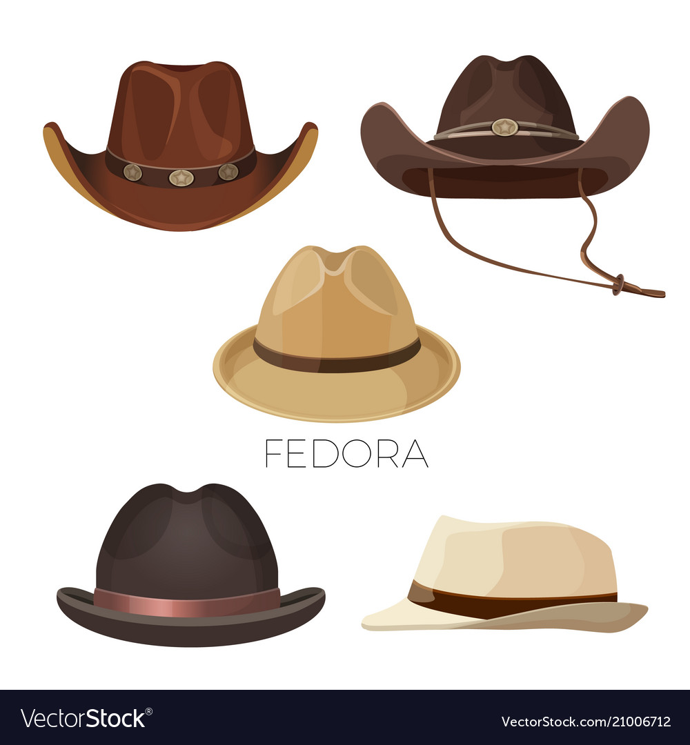 Fedora and cowboy hats of brown and beige colors