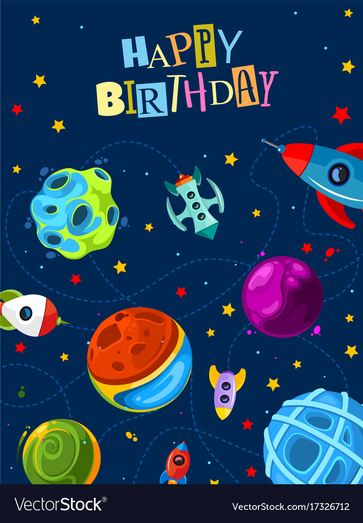 happy birthday gift card with cute planets and vector image - Birthday Gift Card