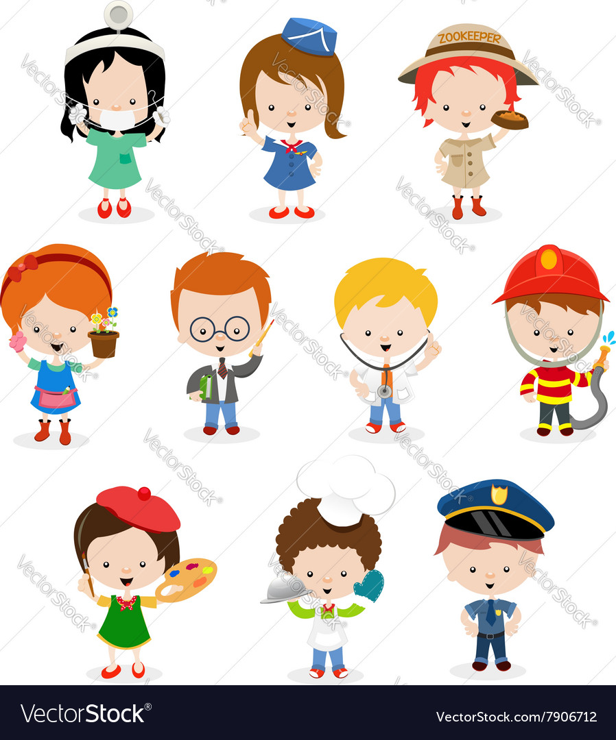 Kids Career Set Royalty Free Vector Image Vectorstock