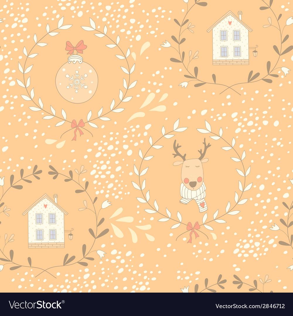 Reindeer wreath seamless pattern vector image