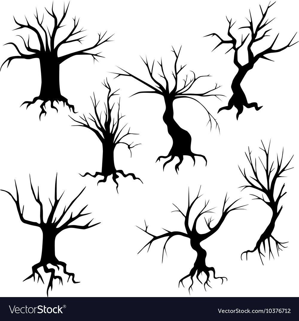 Set Spooky Trees Silhouettes Royalty Free Vector Image