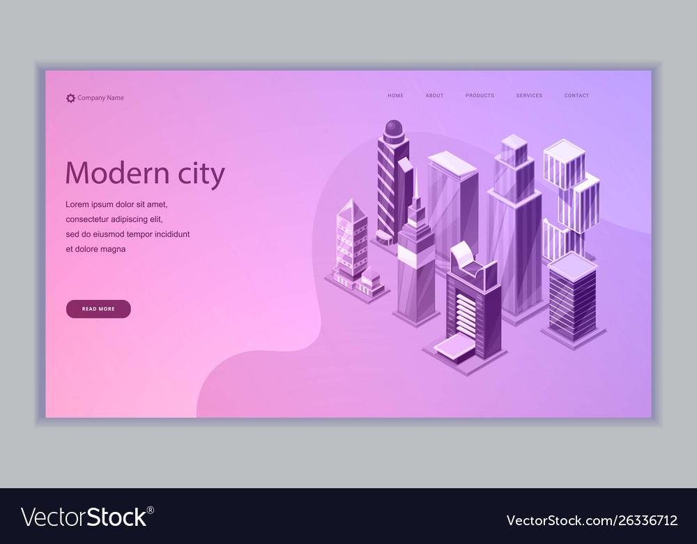 Smart city isometric web template