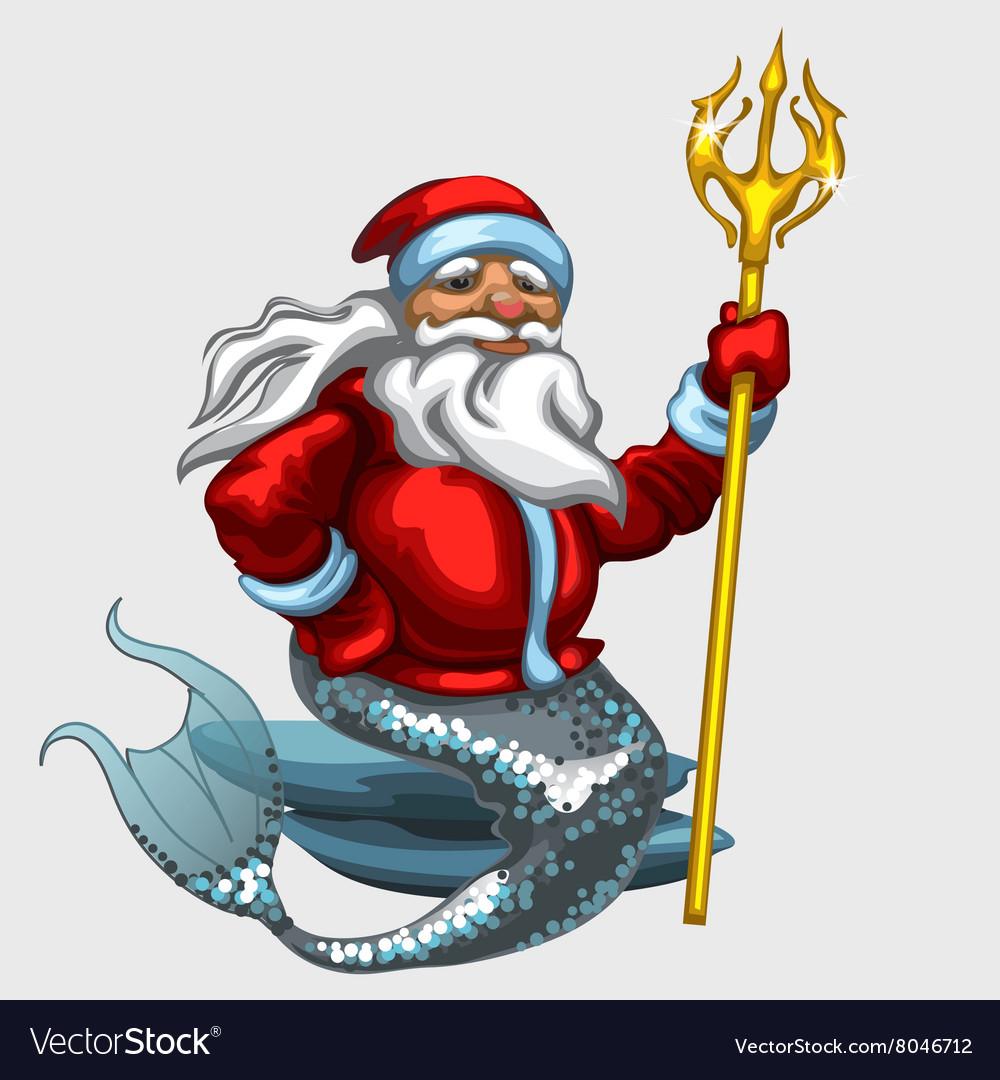Triton Santa Claus with a Golden Trident