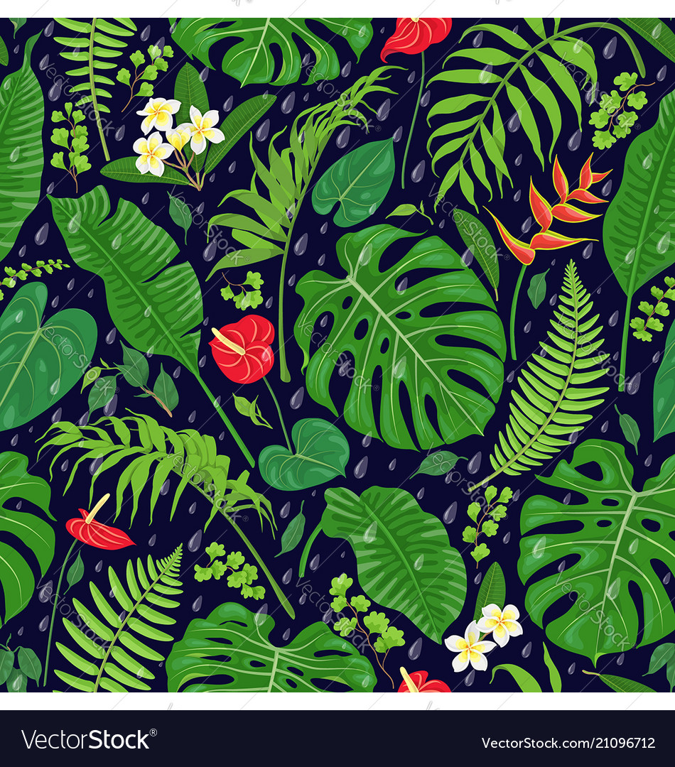 Tropical leaves and rain drops pattern