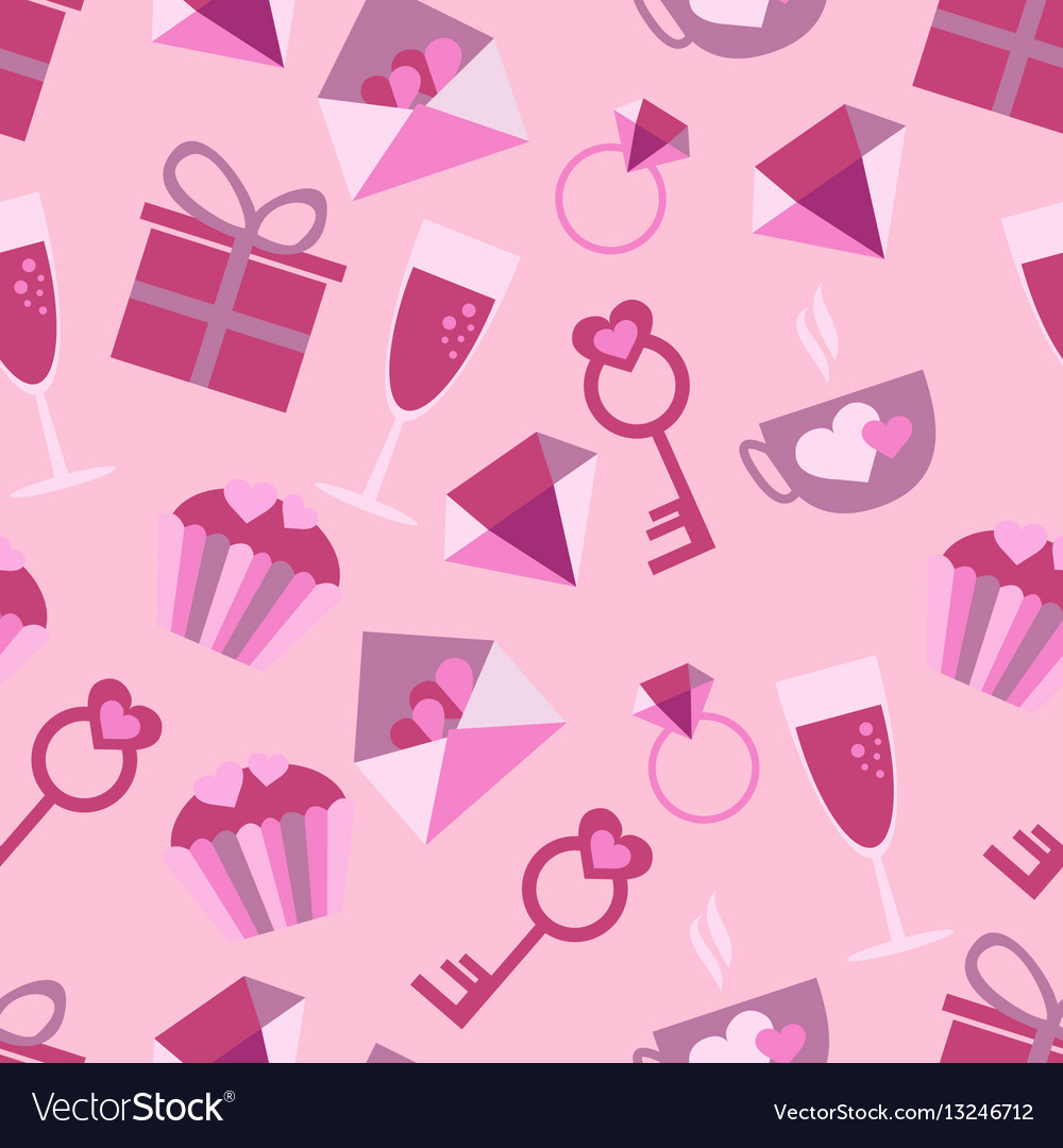 Valentines day love icons seamless pattern with