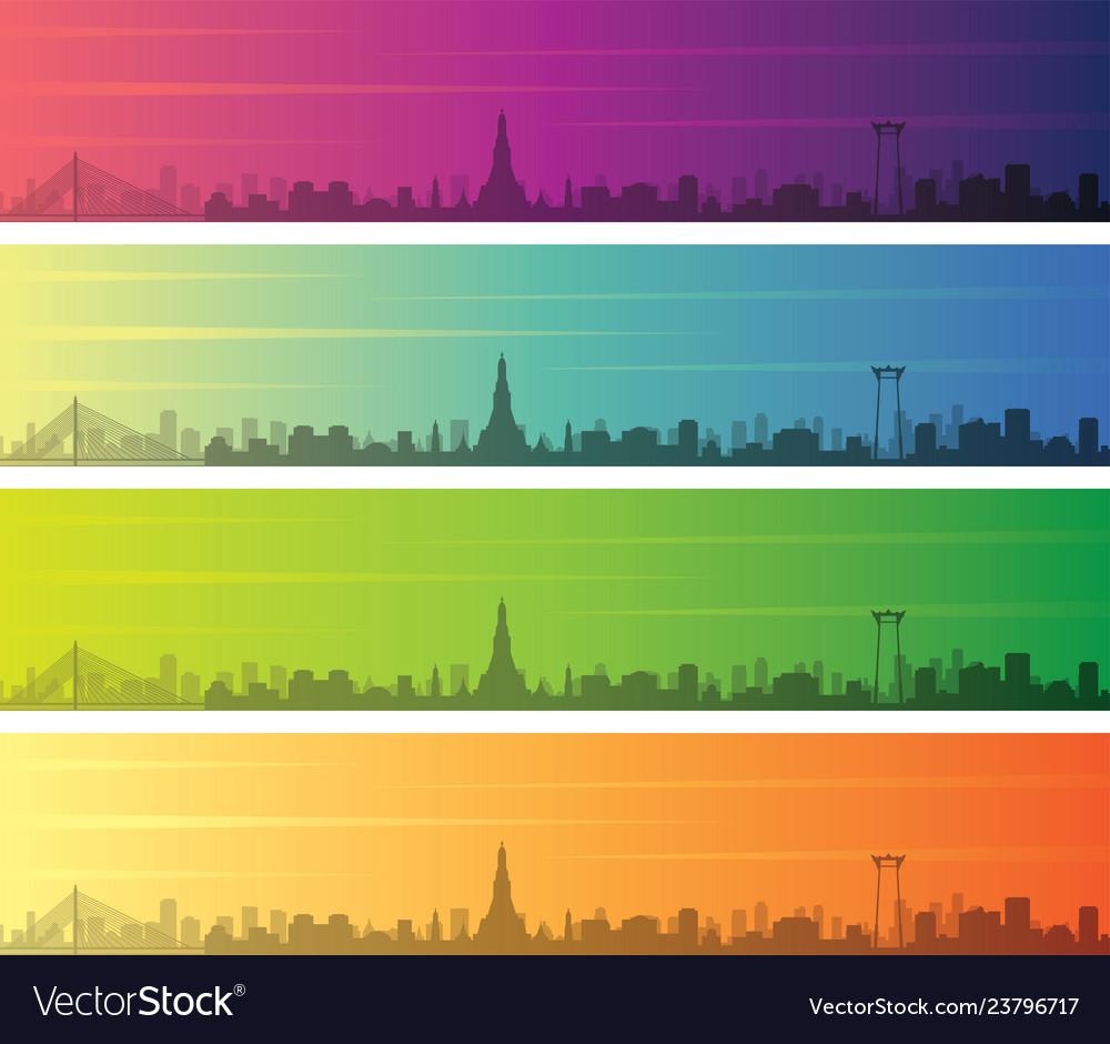 Bangkok multiple color gradient skyline banner