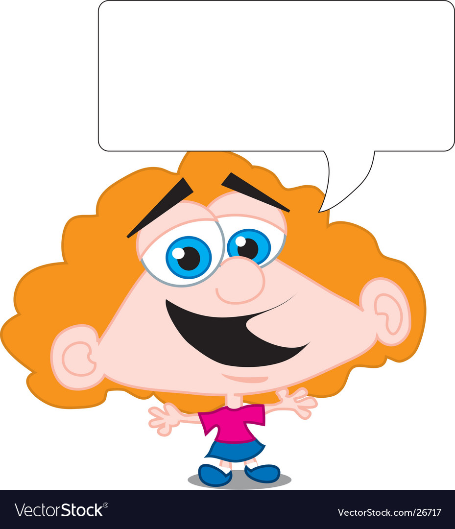 Cartoon girl and speech bubble