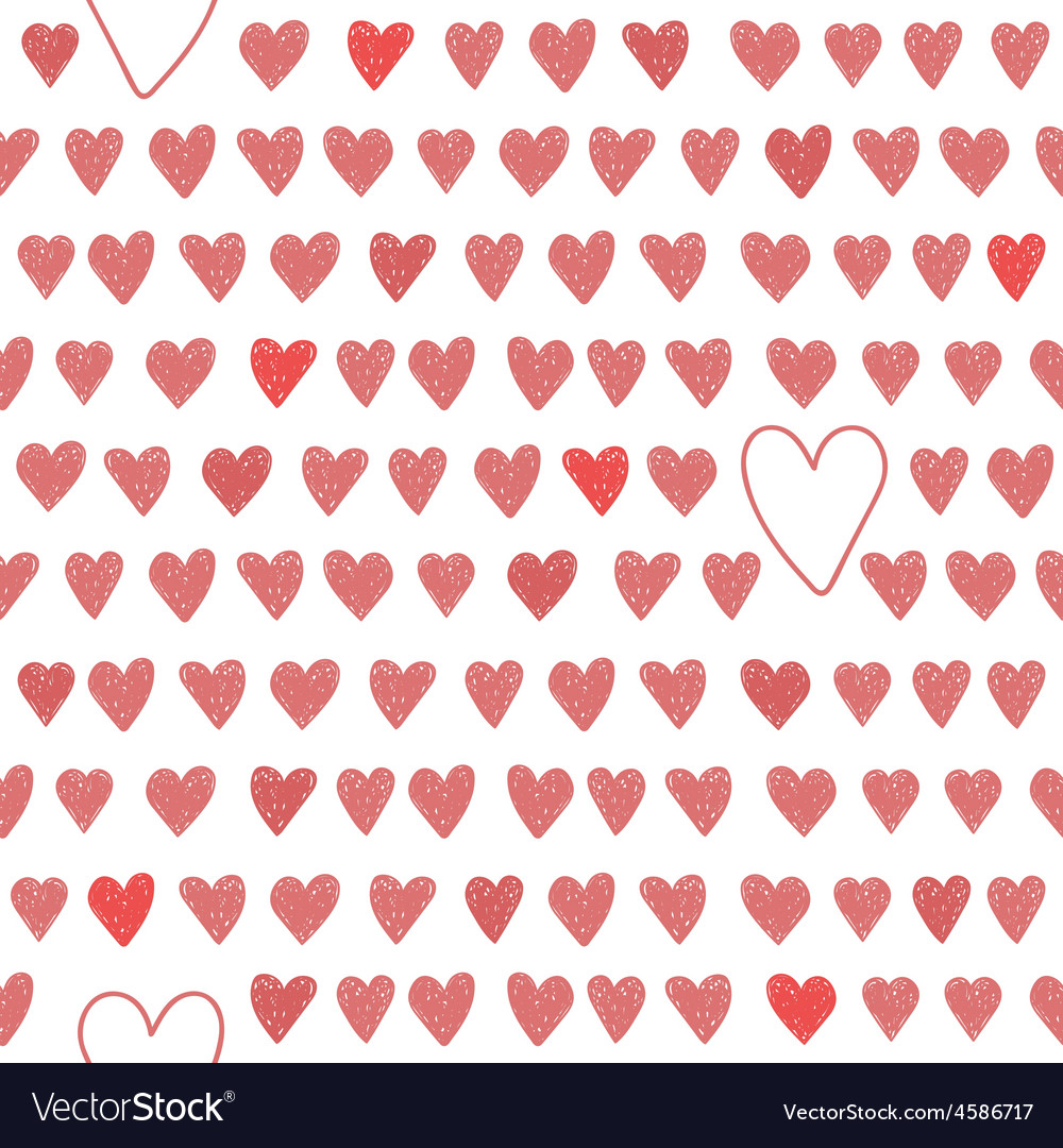 Cute seamless pattern with red hearts