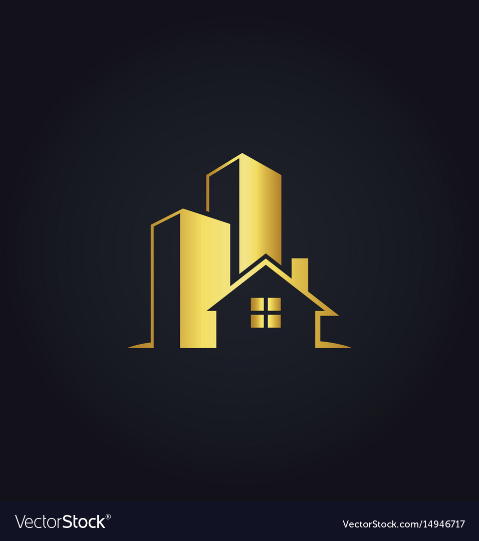 Gold building house logo