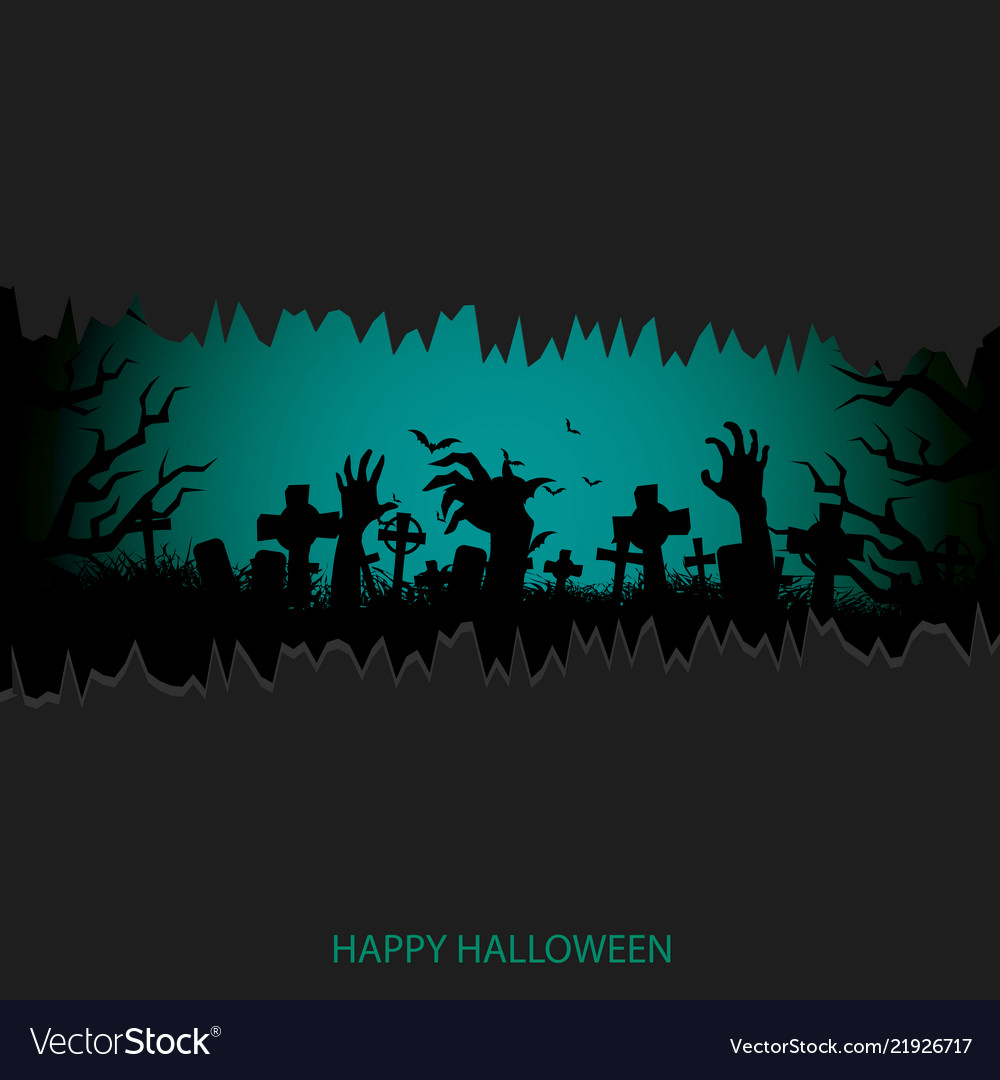 Halloween background with cemetery and moon