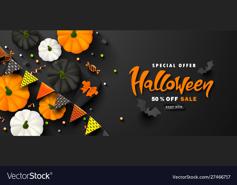 Halloween sale promotion poster with paper bats
