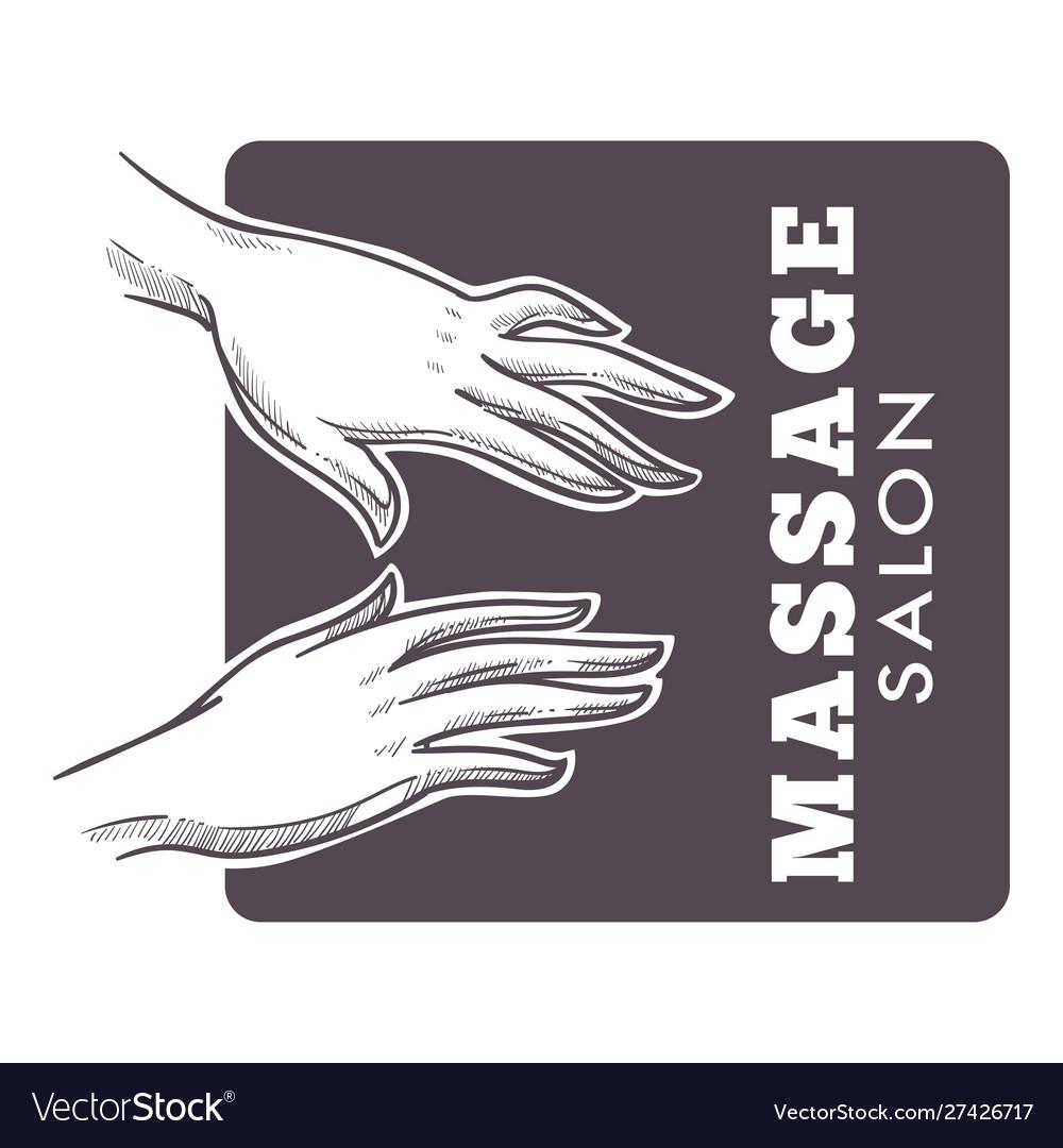 Massage salon hand drawn sketch monochrome logo